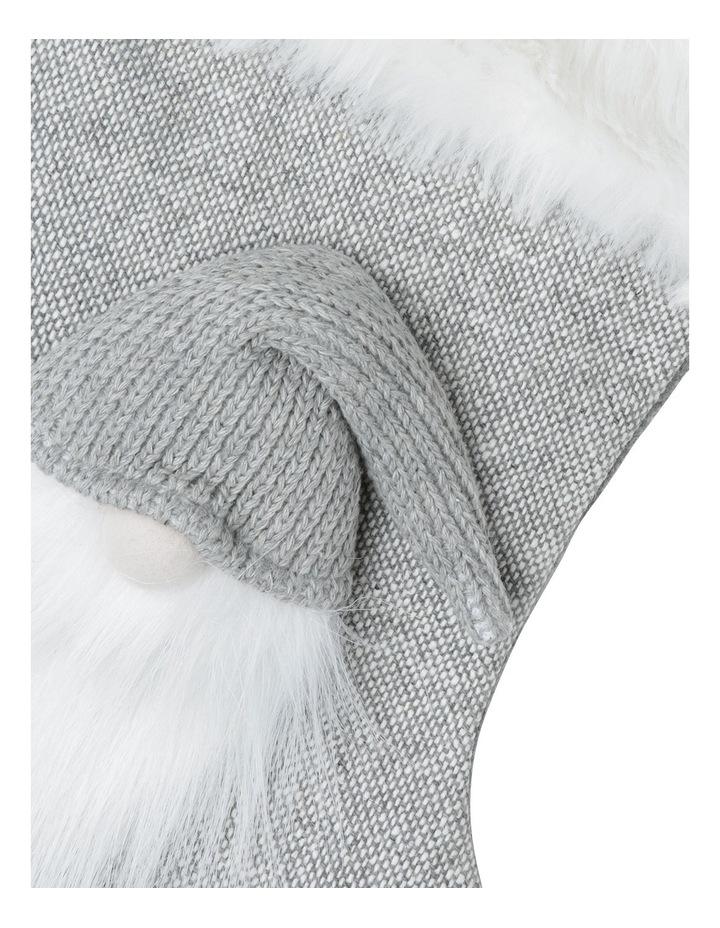Eucalyptus Light Grey and White Fabric Troll Santa Stocking image 2