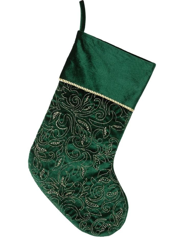 Heirloom Apline Green Sequin Pattern Stocking image 1