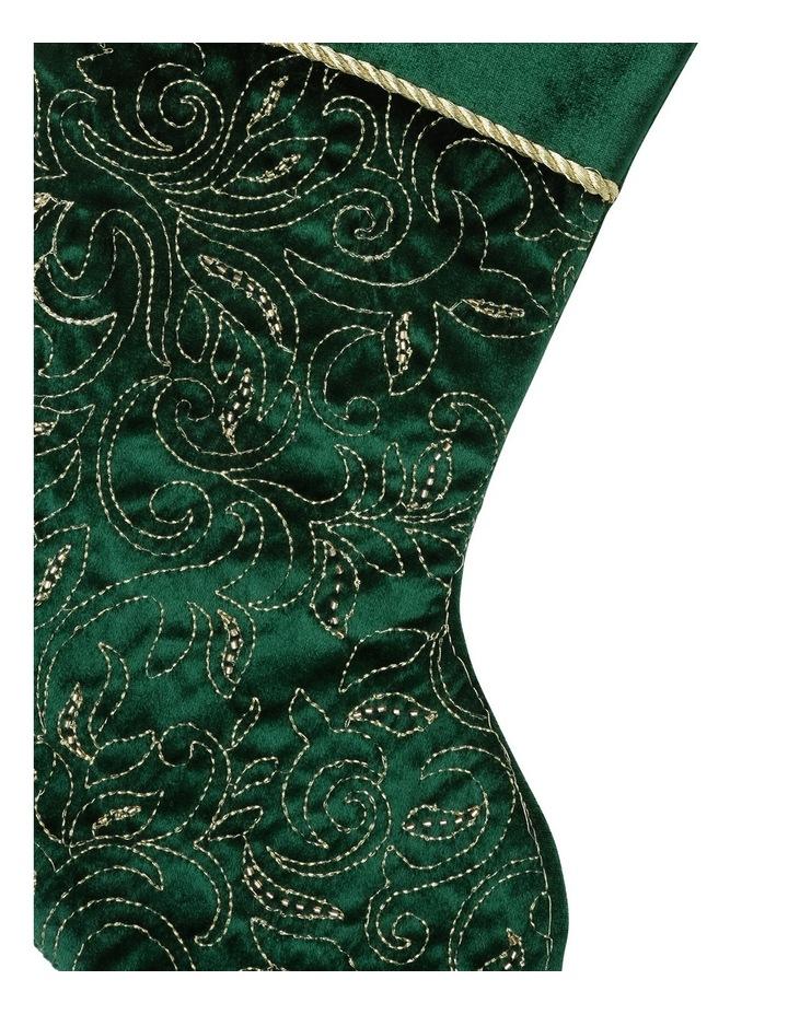 Heirloom Apline Green Sequin Pattern Stocking image 2