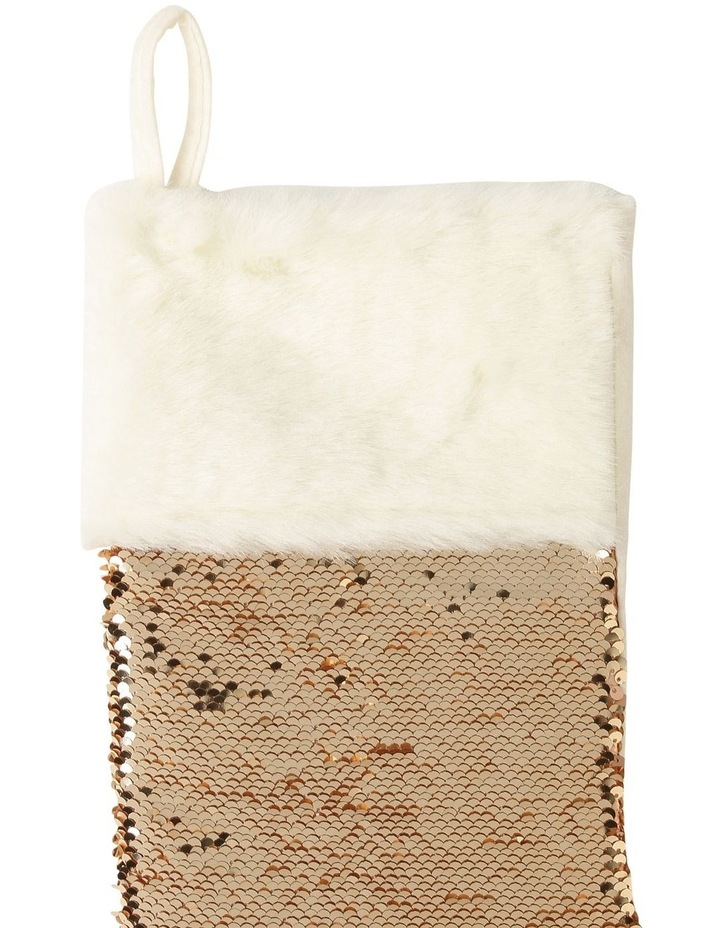 Luxe Champagne Gold Sequin Stocking With Fur Cuff image 3