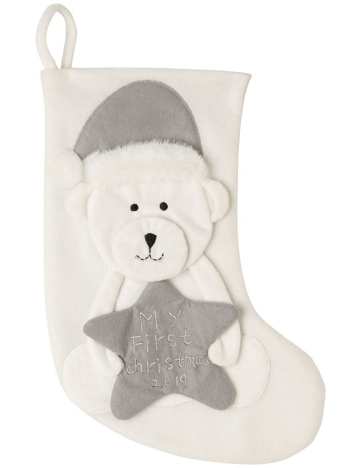 Baby's First Christmas Stocking with Bear image 1