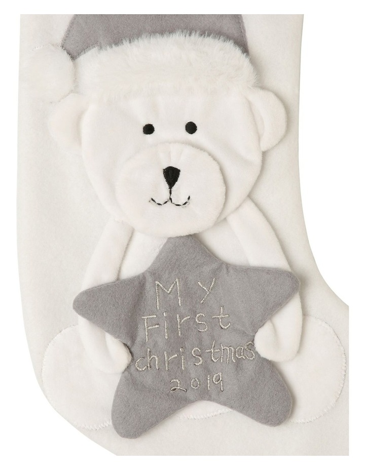 Baby's First Christmas Stocking with Bear image 2