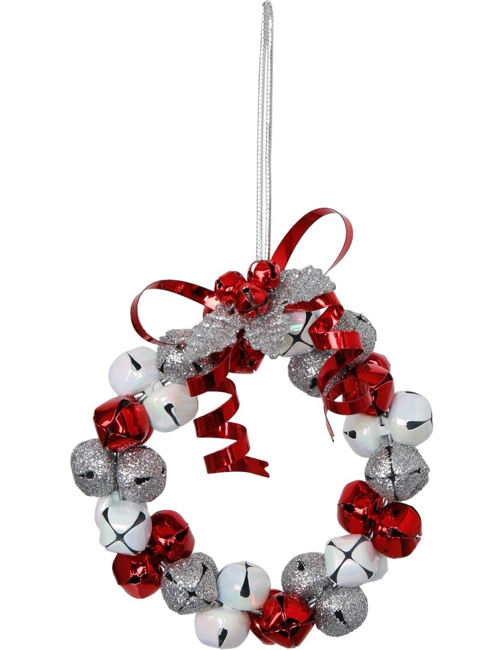 Heirloom Red, White And Silver Metal Bell Wreath image 1