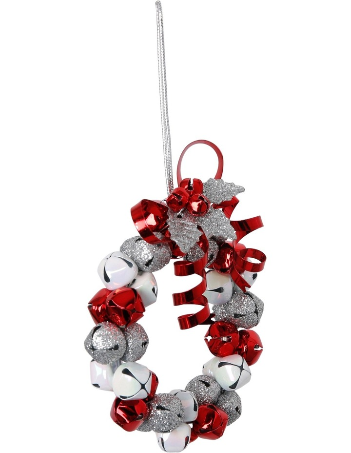 Heirloom Red, White And Silver Metal Bell Wreath image 2