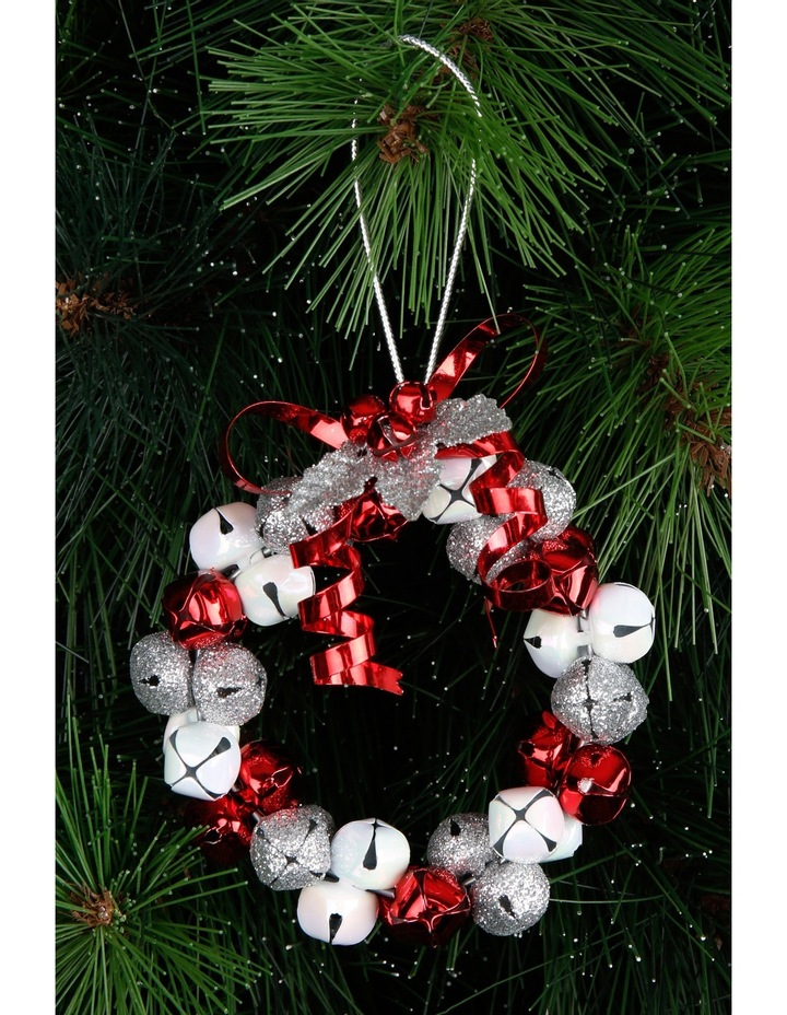 Heirloom Red, White And Silver Metal Bell Wreath image 3