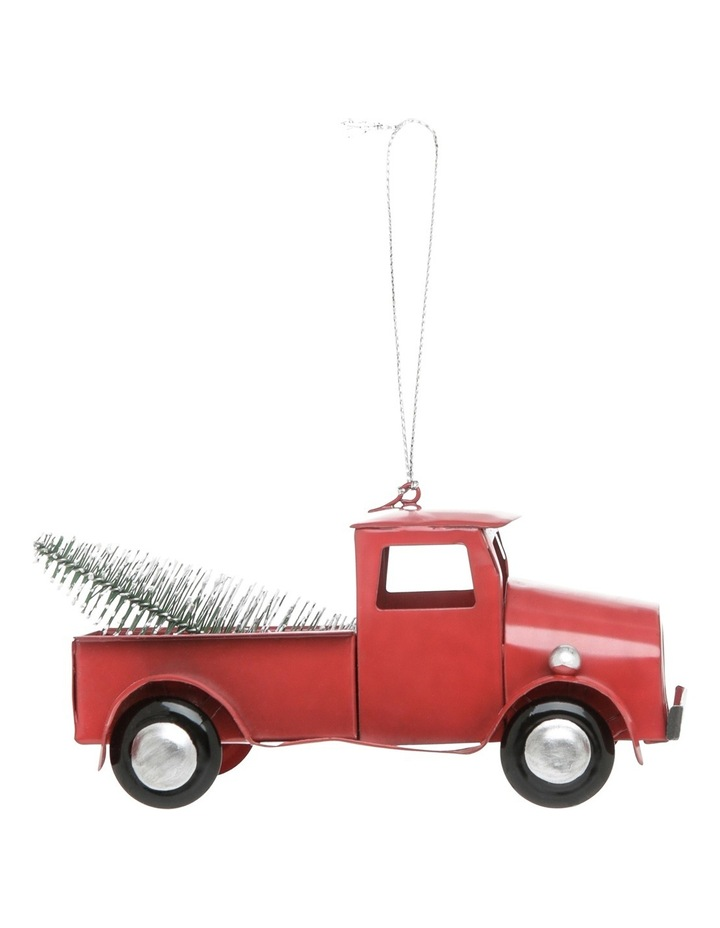 Heirloom 12cm Red Metal Ute Truck With Christmas Tree In The Back image 1