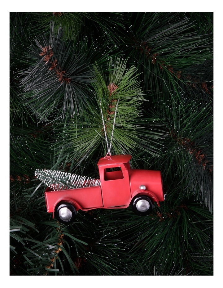 Heirloom 12cm Red Metal Ute Truck With Christmas Tree In The Back image 2