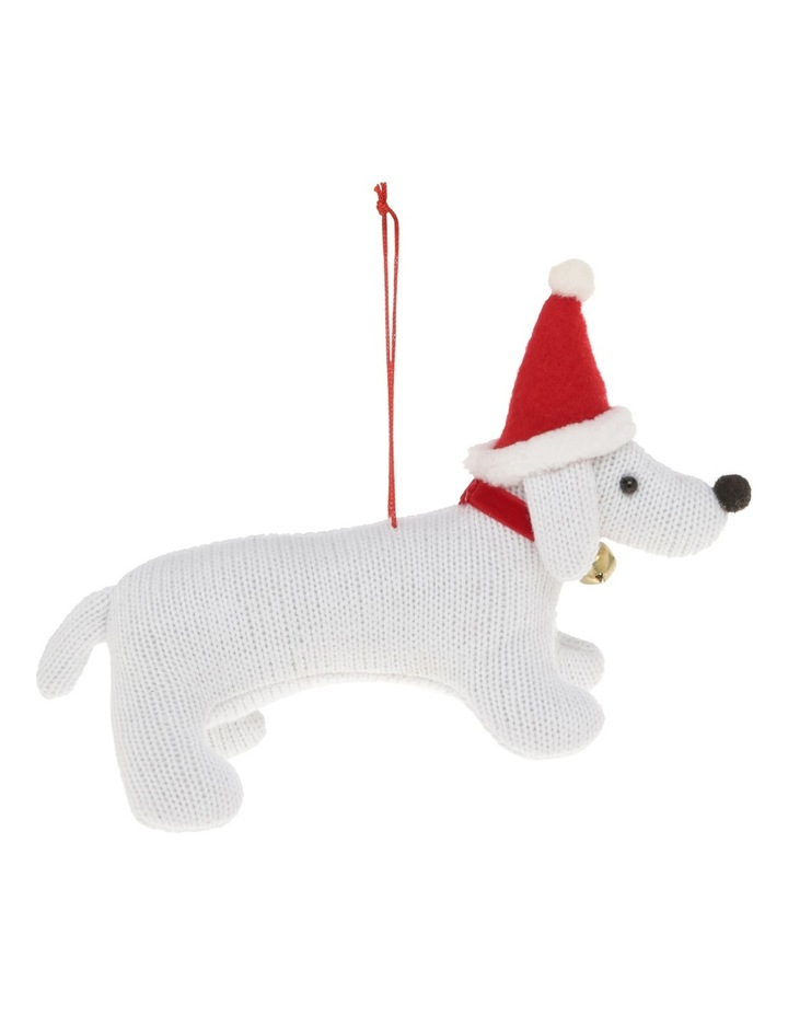 Heirloom White Fabric Dog Wearing Red Santa Hat image 1