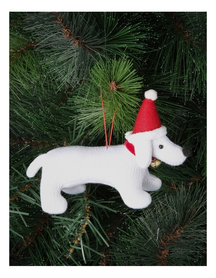 Heirloom White Fabric Dog Wearing Red Santa Hat image 2