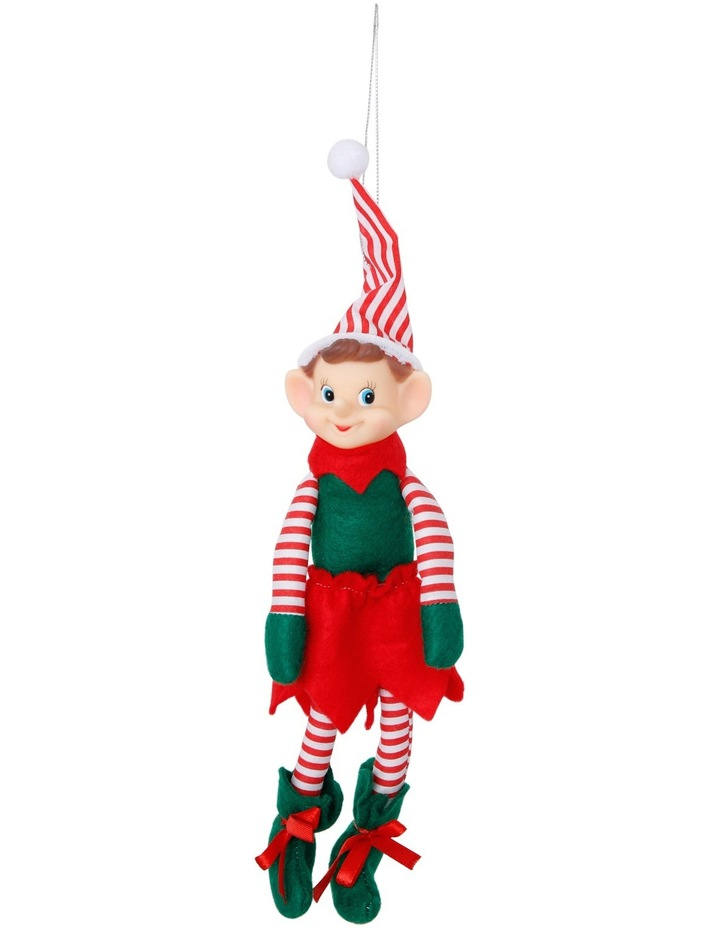 Heirloom Red, White and Green Plastic Elf with Stripes image 1