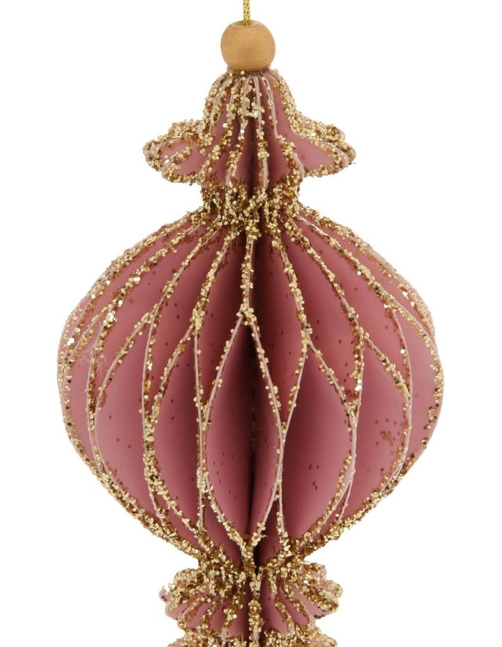 Luxe Paper Ball Finial Ornament Blush Pink With Gold Glitter image 2