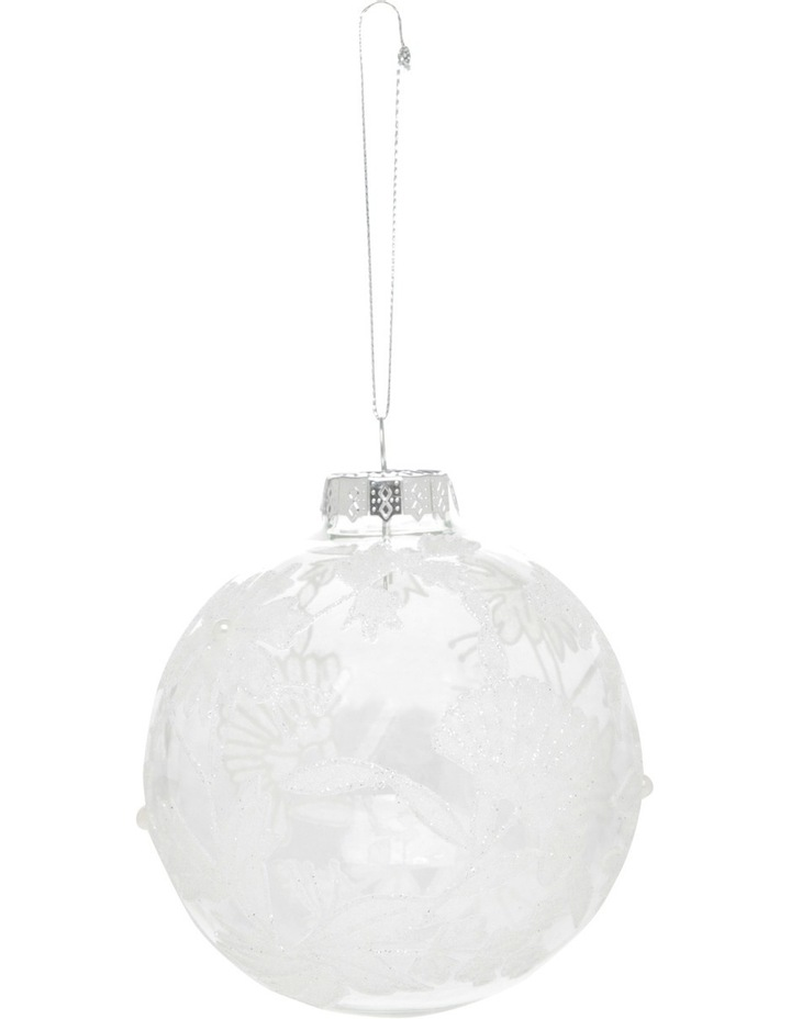 Luxe 100mm Clear Glass Bauble with White Decorative Glitter Leaves image 1