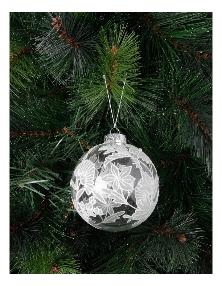 Luxe 100mm Clear Glass Bauble with White Decorative Glitter Leaves image 2