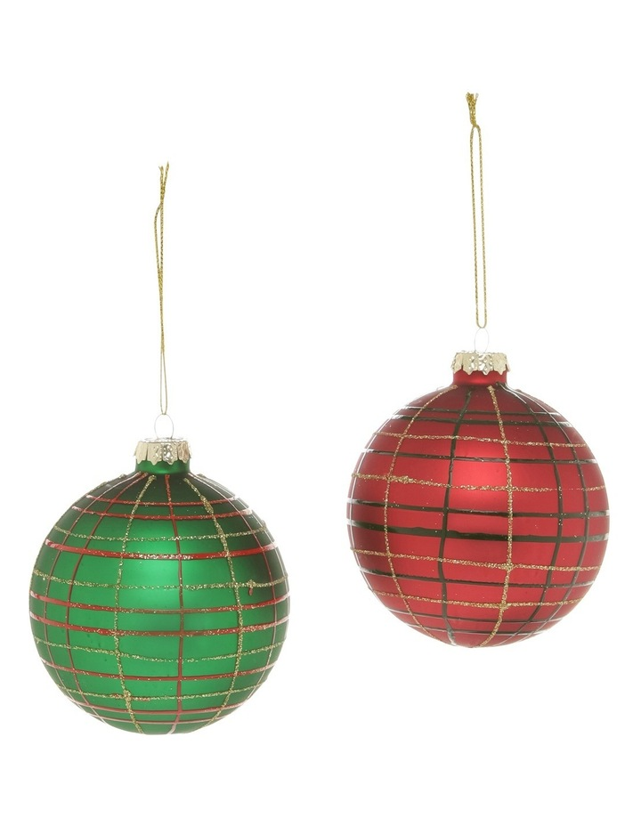 Heirloom 9cm Red And Green Glass Plaid Baubles Assorted image 1