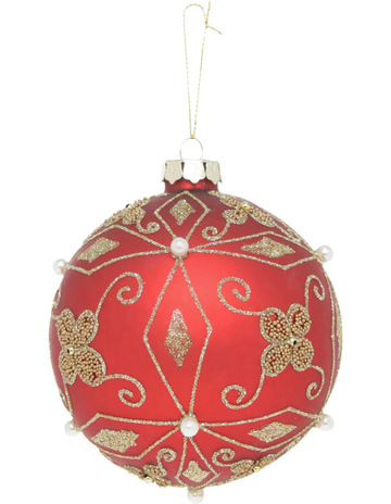 myer giftorium heirloom 10cm matte red glass bauble with gold decorative beads