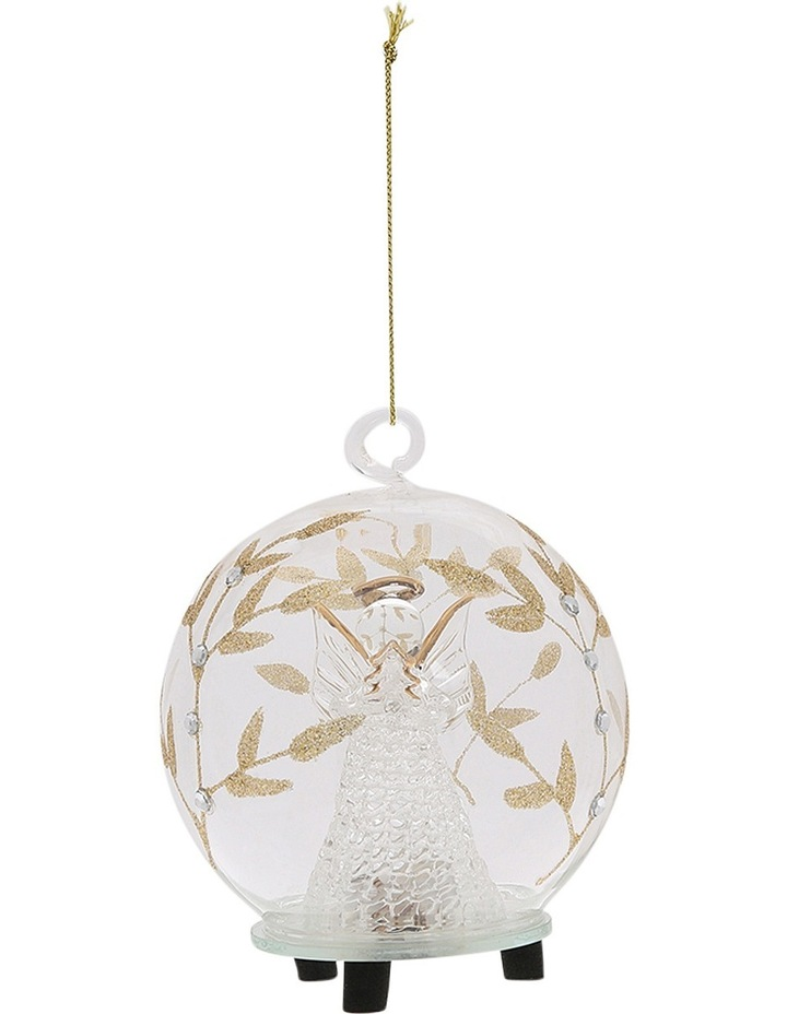 Luxe Clear Glass Gold Decorative LED Bauble with Angel Inside image 1