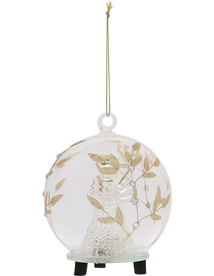 Luxe Clear Glass Gold Decorative LED Bauble with Angel Inside image 2