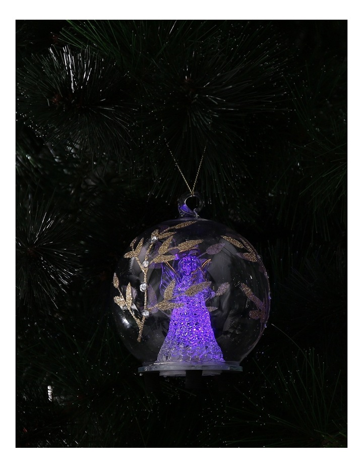 Luxe Clear Glass Gold Decorative LED Bauble with Angel Inside image 3