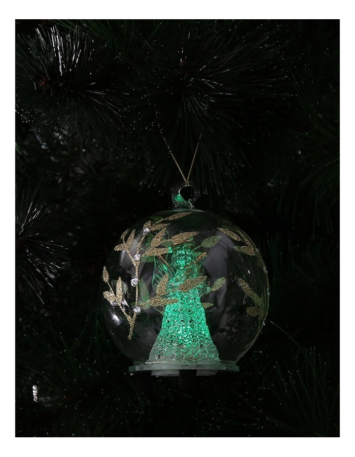 Luxe Clear Glass Gold Decorative LED Bauble with Angel Inside image 4