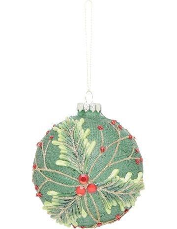 myer giftorium heirloom 100mm green sisal glass bauble with painted holly leaves - Pastel Green Christmas Decorations