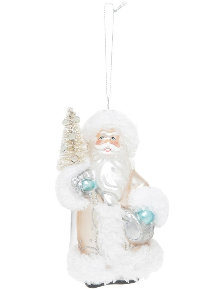 Luxe Silver Glass Santa Holding Christmas Tree image 1