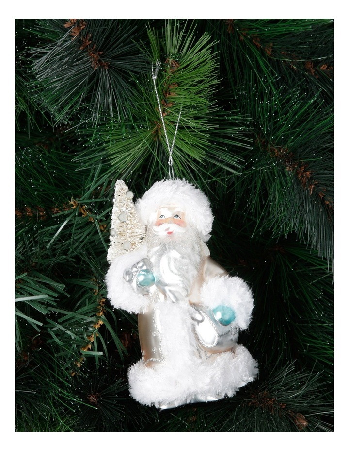 Luxe Silver Glass Santa Holding Christmas Tree image 2