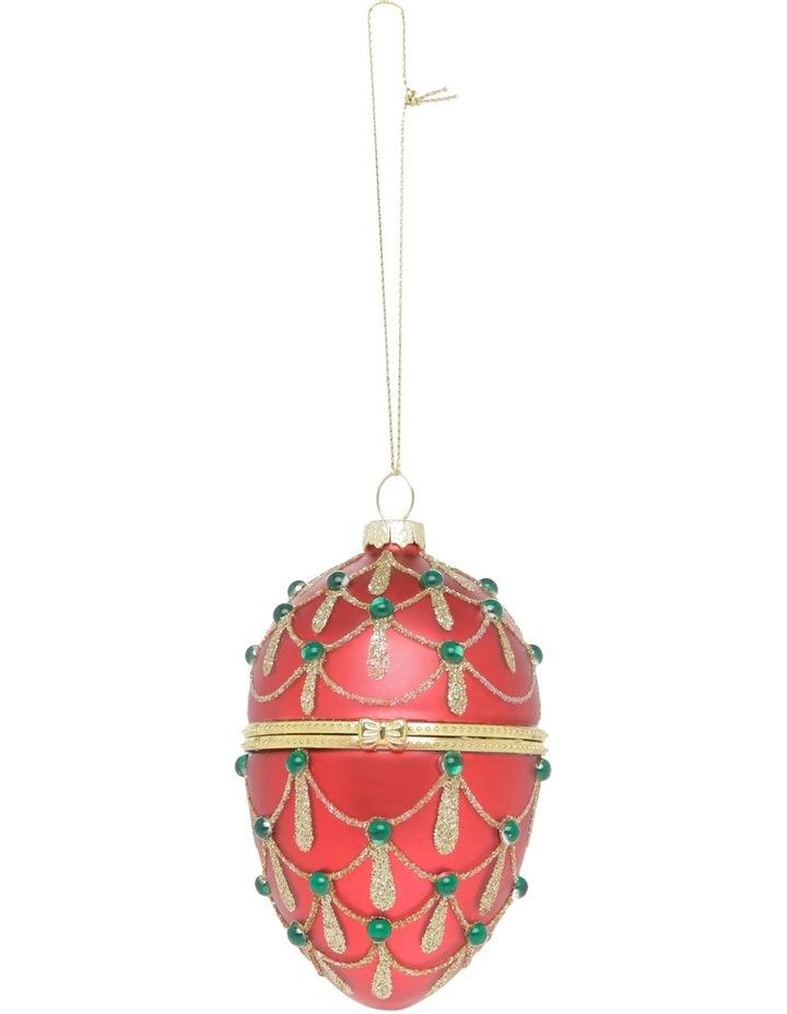 Heirloom Red Glass Hinge Box Egg image 1