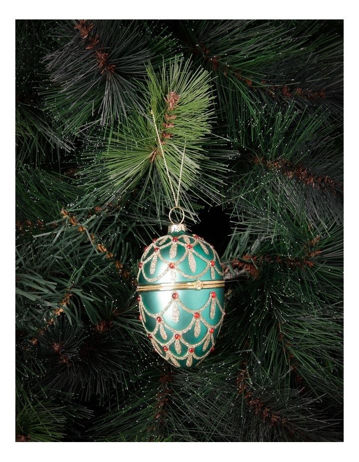 Heirloom Green Glass Hinge Box Egg image 3