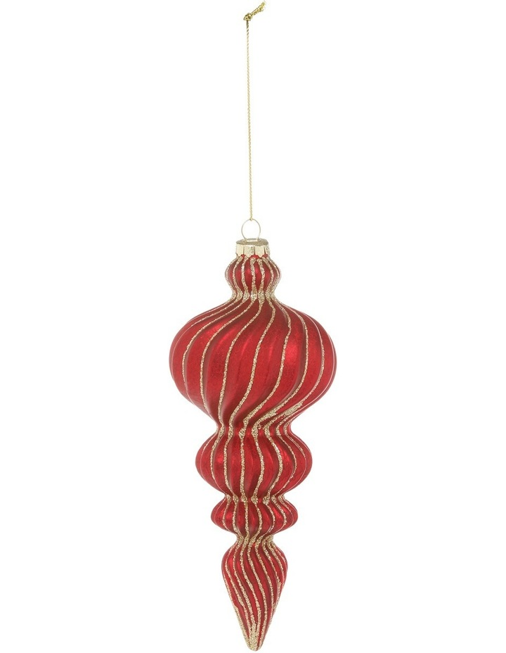 Heirloom Red Glass Finial with Gold Glitter image 1