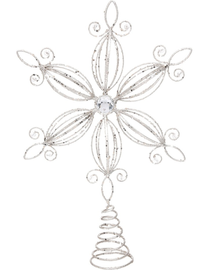 Luxe 38cm Metal Glitter White Flower with Gems Tree Topper image 1