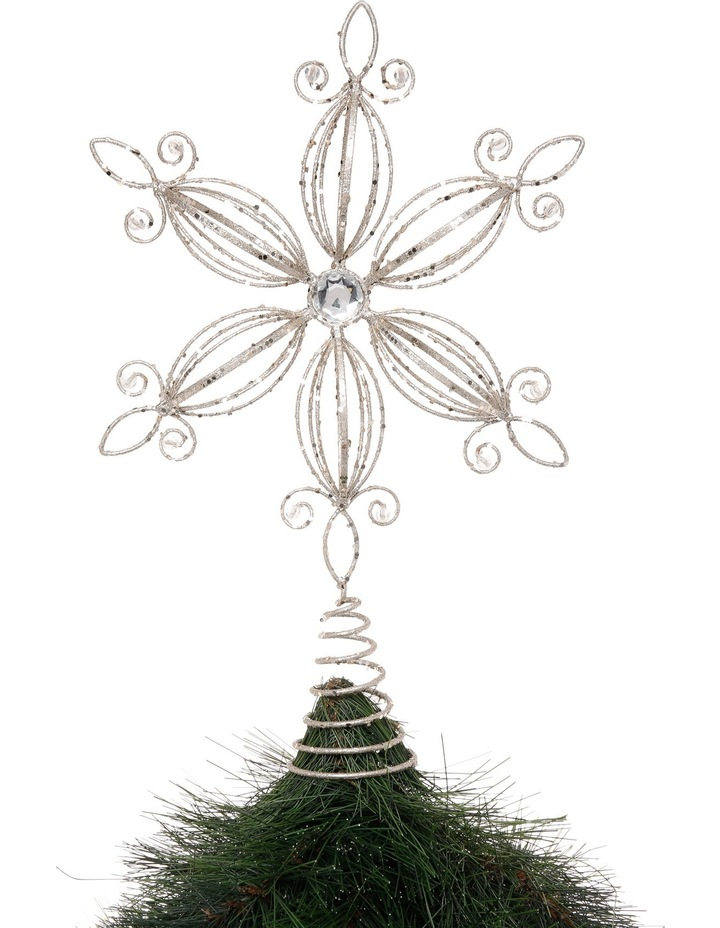 Luxe 38cm Metal Glitter White Flower with Gems Tree Topper image 2