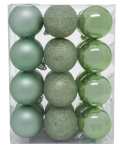 Eucalyptus 24 Pieces - Cameo Green Matte, Shiny And Glitter Baubles