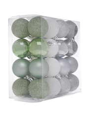 Eucalyptus 32 Pieces - 4.5cm Shatterproof Cameo Green, Grey And Silver Baubles