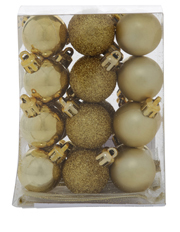 Heirloom 24 Pieces - 30mm Gold Matte, Shiny And Glitter Baubles Pack