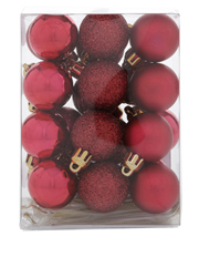 Heirloom 24 Pieces - 30mm Deep Red Matte, Shiny And Glitter Baubles Pack