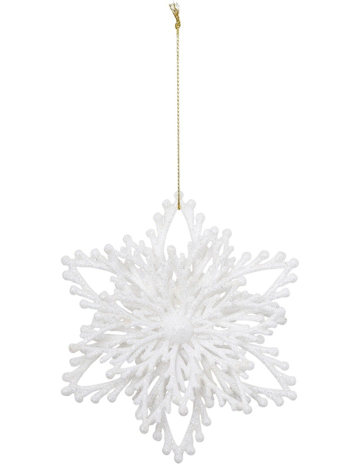 Luxe White Glitter Plastic Layered Snowflake image 1