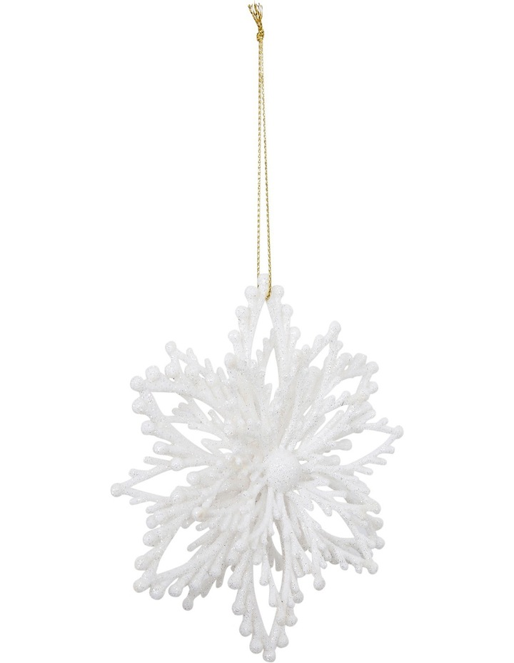 Luxe White Glitter Plastic Layered Snowflake image 2