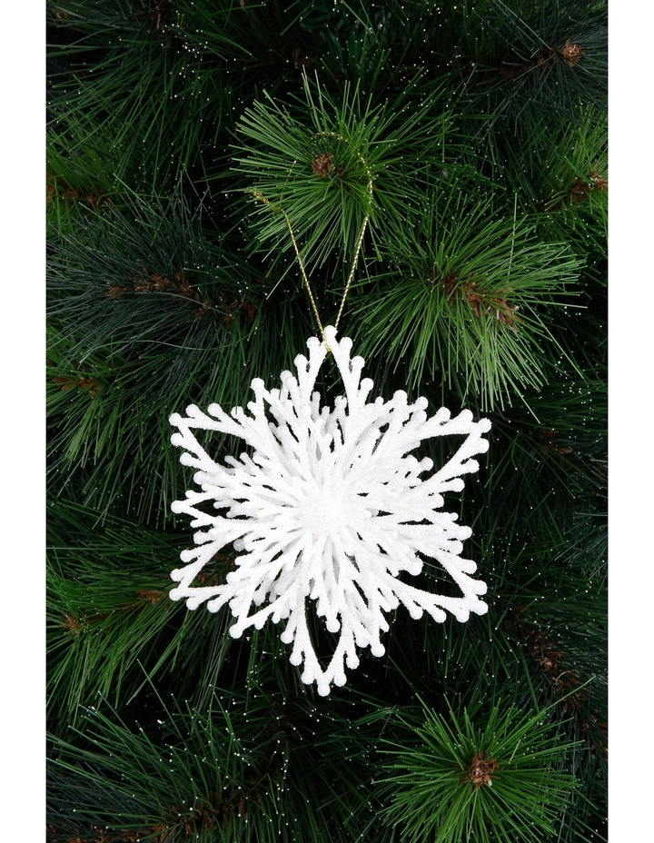 Luxe White Glitter Plastic Layered Snowflake image 3