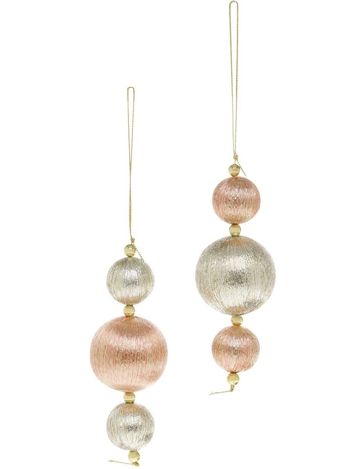 Luxe Rose Gold/Gold Shatterproof 3 Ball Drop Ornament image 1