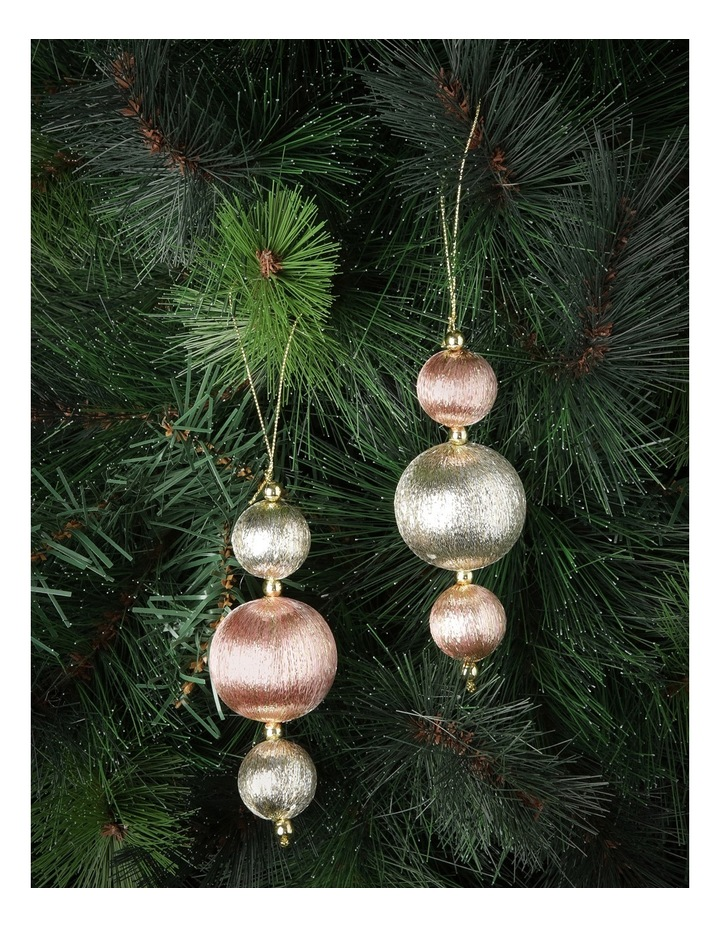 Luxe Rose Gold/Gold Shatterproof 3 Ball Drop Ornament image 2