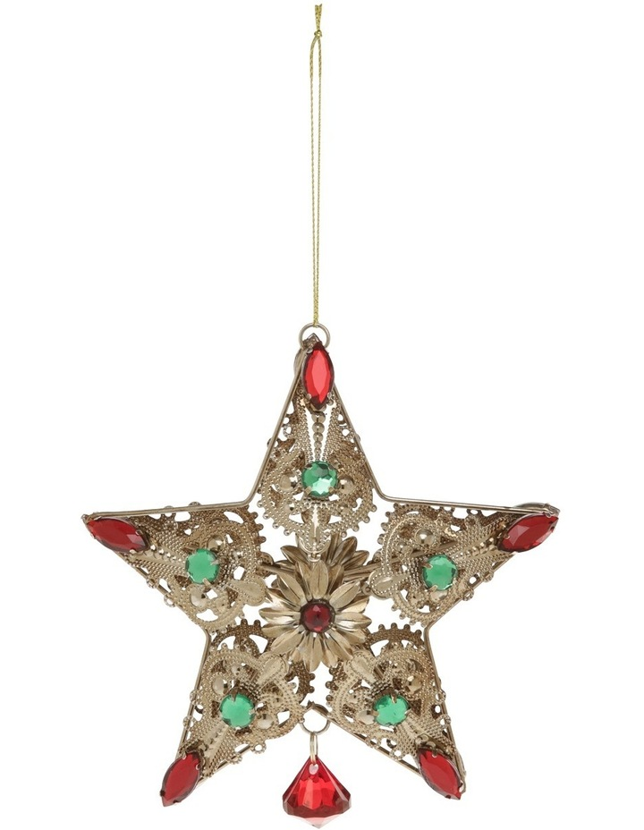 Heirloom Rustic Gold Wire Star With Red And Green Gems image 1