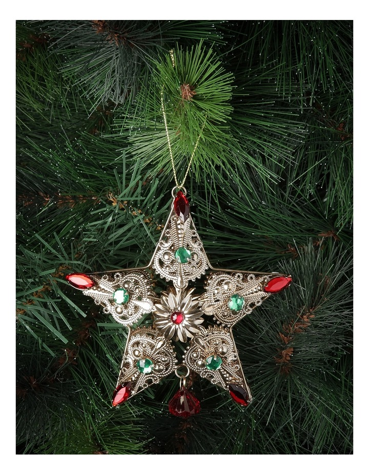 Heirloom Rustic Gold Wire Star With Red And Green Gems image 2