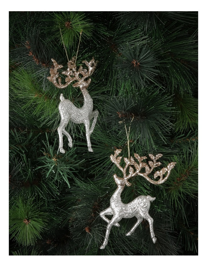 Luxe Silver Glitter Reindeer Assorted image 2