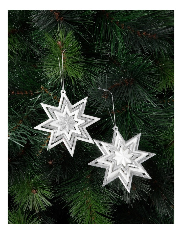 Luxe Silver And White Glitter Star Assorted image 2