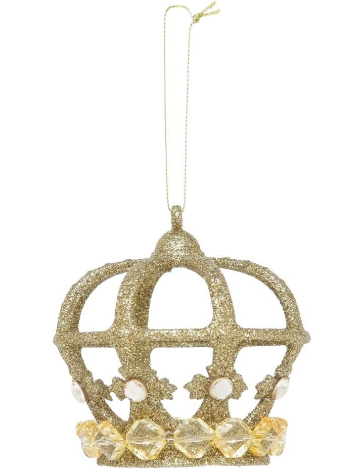 Heirloom Gold Plastic Glitter Crown image 1
