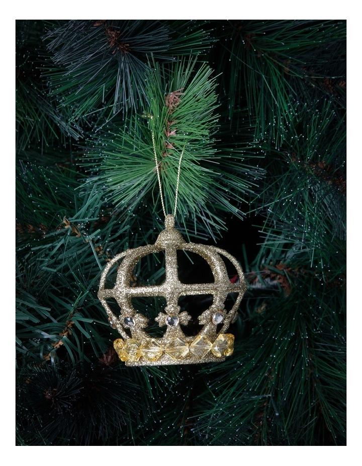 Heirloom Gold Plastic Glitter Crown image 2