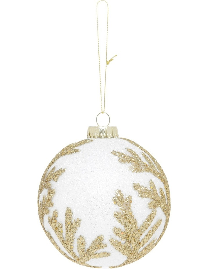 Luxe White Styrofoam Ball With Gold Glitter Leaves image 1