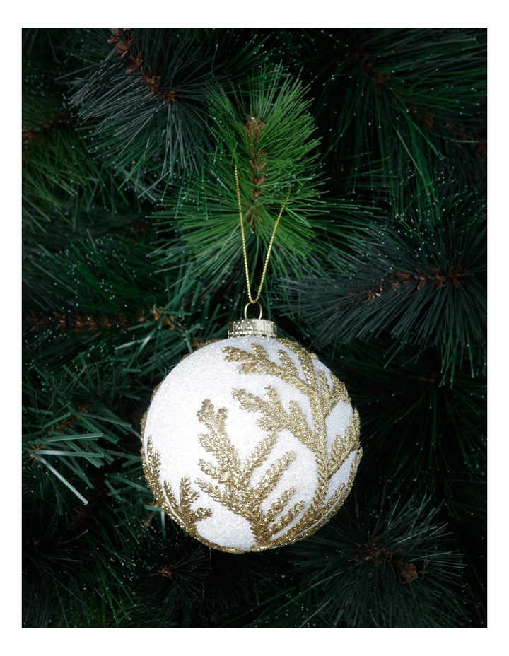 Luxe White Styrofoam Ball With Gold Glitter Leaves image 2