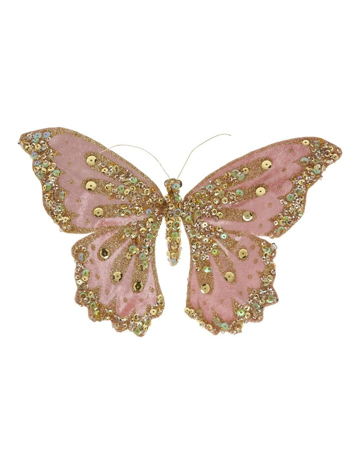 Luxe Pink Glitter Fabric Butterfly With Jewels On Clip image 1