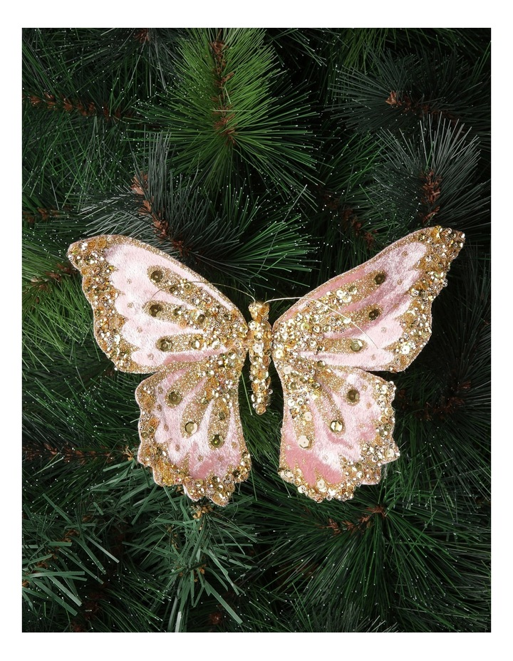 Luxe Pink Glitter Fabric Butterfly With Jewels On Clip image 3